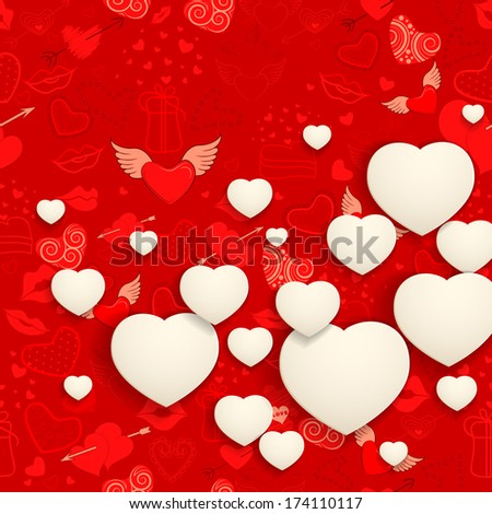 vector illustration of paper heart on love background - stock vector