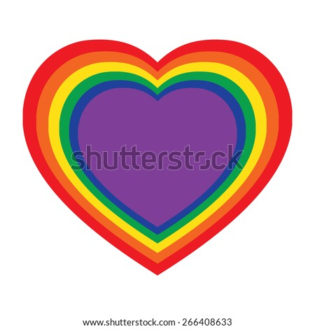 Vector illustration of paper hearts lgbt color isolated on white background. LGBT colors hearts, symbol of gay love, vector emblem - stock vector