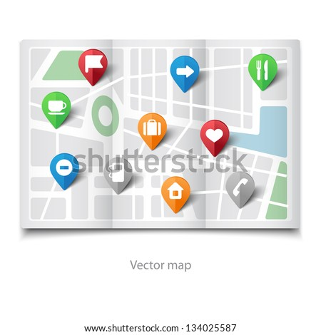 Vector illustration of paper map with tourist's pins - stock vector