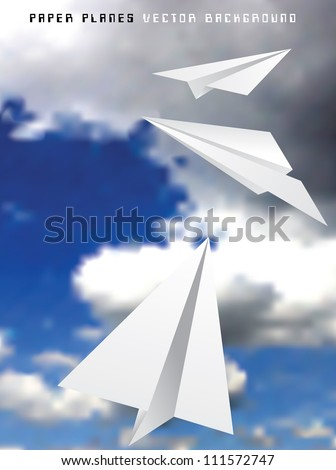 Vector illustration of paper planes in storm - stock vector