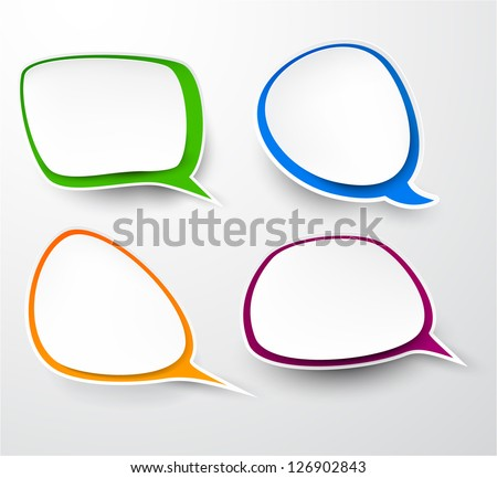 Vector illustration of paper rounded speech bubbles. Eps10. - stock vector
