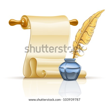 Vector illustration of paper scroll with feather pen and ink pot on white background. - stock vector