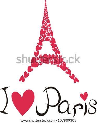 Vector illustration of Paris and eiffel tower - stock vector