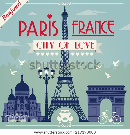 Vector illustration of Paris in France - stock vector