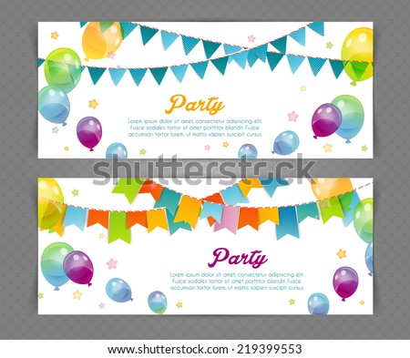 Vector illustration of Party banners with flags and ballons - stock vector
