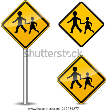 Vector illustration of pedestrians yellow signs on white background - stock vector