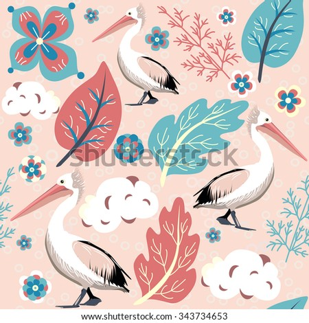 Vector illustration of pelican bird on cute background with flower, leaves, clouds and branches - stock vector