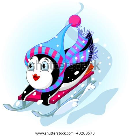 Vector illustration of Penguin having fun in a snow cart. - stock vector