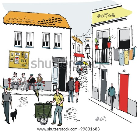 Vector illustration of people in old village, Portugal - stock vector
