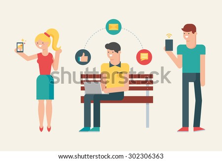 Vector illustration of people using modern gadgets: smartphone, tablet, laptop - stock vector