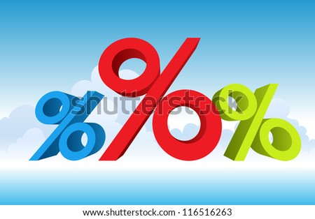 Vector illustration of percentages. The red obviously bigger. - stock vector