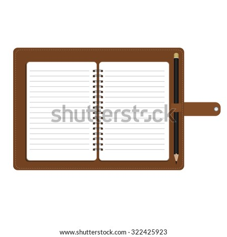 Vector illustration of personal organizer, diary or notebook. Opened organizer in brown leather cover  with pencil. Notebook with spiral and blank lined paper - stock vector