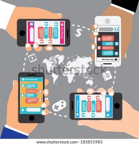 Vector Illustration of Phone conversation. social media concept. Flat style - stock vector