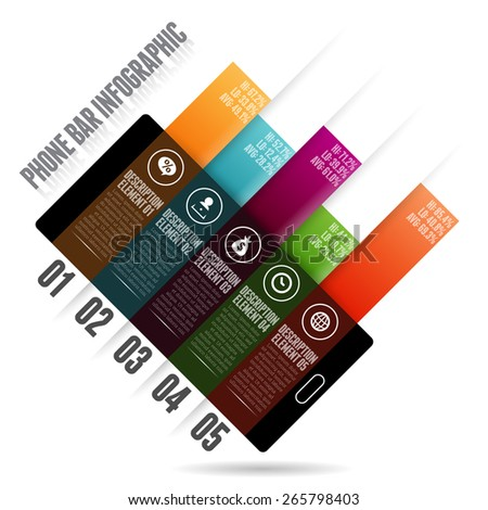 Vector illustration of phone graphic glass bar infographic design elements. - stock vector