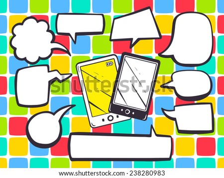 Vector illustration of phone with speech comics bubbles on color pattern background. Line art design for web, site, advertising, banner, poster, board and print. - stock vector