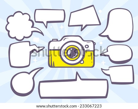 Vector illustration of photo camera with speech comics bubbles on blue background. Line art design for web, site, advertising, banner, poster, board and print. - stock vector