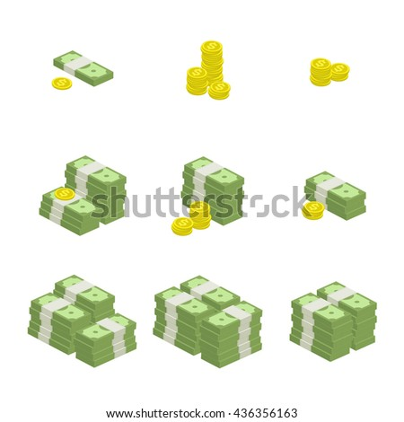 Vector illustration of pile of money. Set of cash and coin flat icon, American dollars, pack, packet, parcel, batch, package. Modern design isolated on white background. Modern currency icons. - stock vector