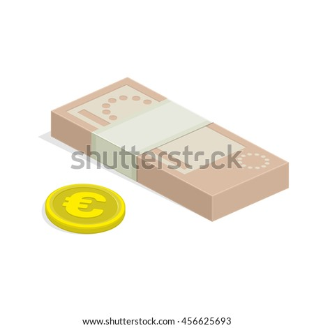 Vector illustration of pile of money. Single flock of cash and coin flat icon, Euro banknote pack, packet, parcel, batch, package. Modern design isolated on white background. Modern currency icons. - stock vector