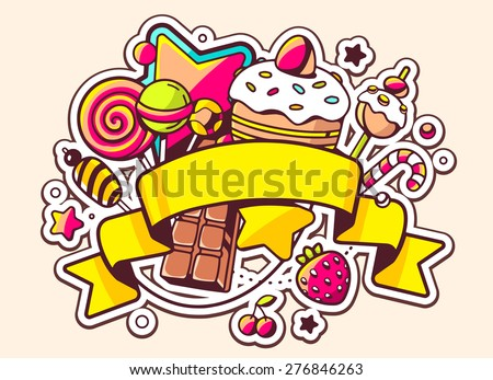 Vector illustration of pile of sweets and ribbon on light background. Hand draw line art design for web, site, advertising, banner, poster, board and print.   - stock vector