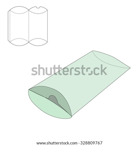 Vector Illustration of Pillow craft Box for Design, Website, Background, Banner. Folding package Template. Fold pack with die line for your brand on it - stock vector