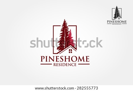 Vector illustration of pines tree that incorporate with house picture, it's good for real estate logo, it's try to symbolize residence or real estate.  - stock vector
