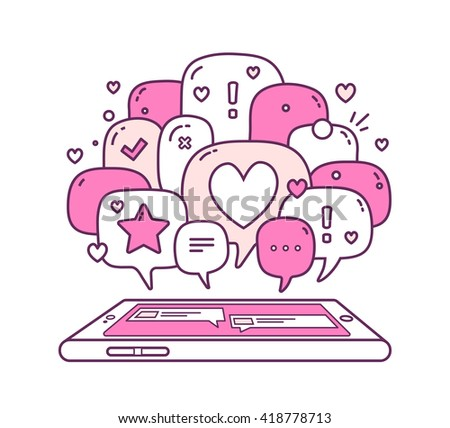 Vector illustration of pink color dialog speech bubbles with icons and phone on white background. Safety and fast mobile messenger concept. Thin line art flat design of communication technology theme - stock vector