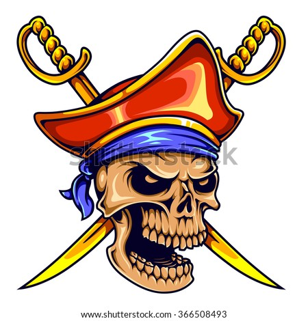 Vector Illustration Of Pirate Skull With Swords - stock vector