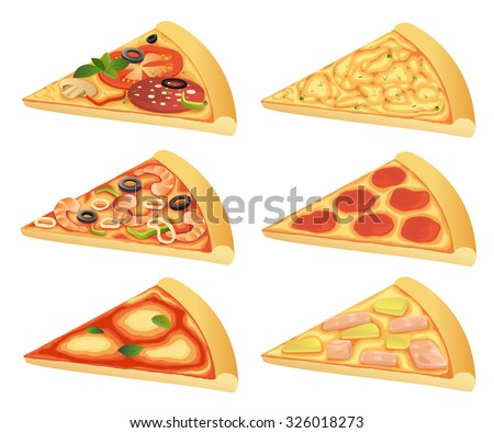 Vector illustration of pizza slices with different toppings isolated on white background. - stock vector