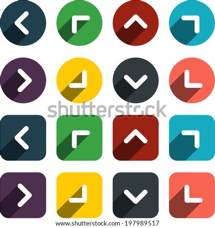Vector illustration of plain arrow icons. Flat design.  - stock vector