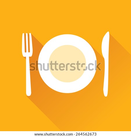 Vector illustration of plate fork and knife flat icon in orange square background with diagonal shadow - stock vector