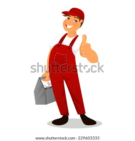 Vector illustration of Plumber in red overalls - stock vector
