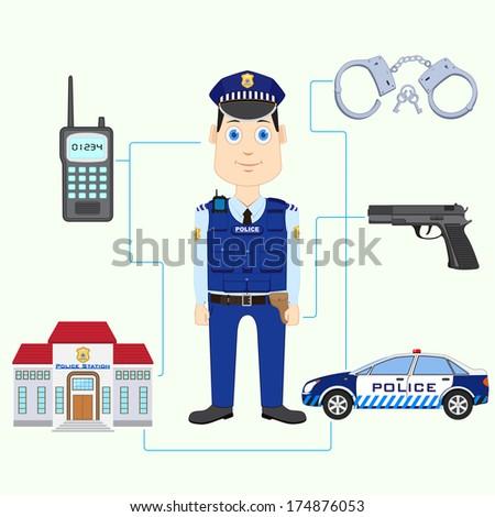 vector illustration of policeman with gun - stock vector