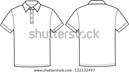 Vector illustration of polo t-shirt. Front and back views - stock vector