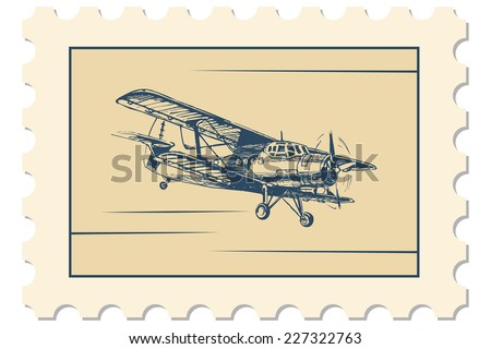 Vector illustration of postage stamp with flight picture - stock vector