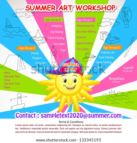 vector illustration of poster design for Summer Art Workshop - stock vector