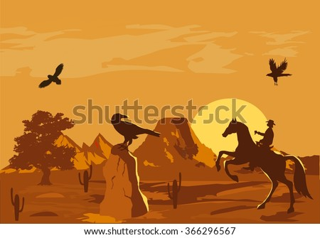 Vector illustration of prairie wild west with cacti and hero of the wild West  - stock vector