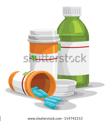 Vector illustration of prescription pill and syrup bottles. - stock vector