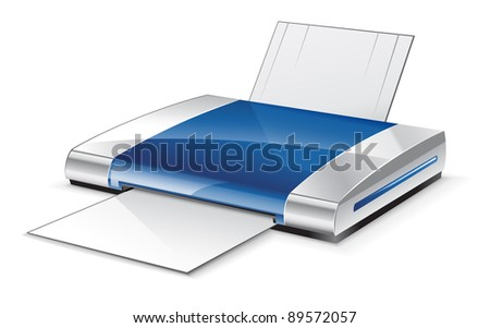 Vector illustration of printer on white background - stock vector