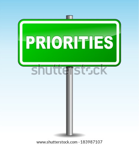 Vector illustration of priorities green signpost on sky background - stock vector