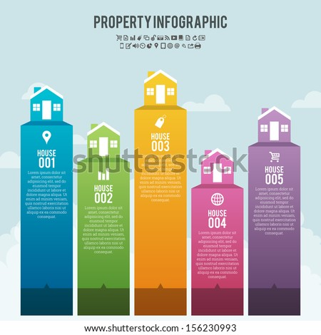 Vector illustration of property infographic banner background. - stock vector