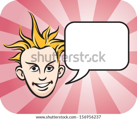 Vector illustration of Punk blond face with speech bubble. Easy-edit layered vector EPS10 file scalable to any size without quality loss. High resolution raster JPG file is included. - stock vector