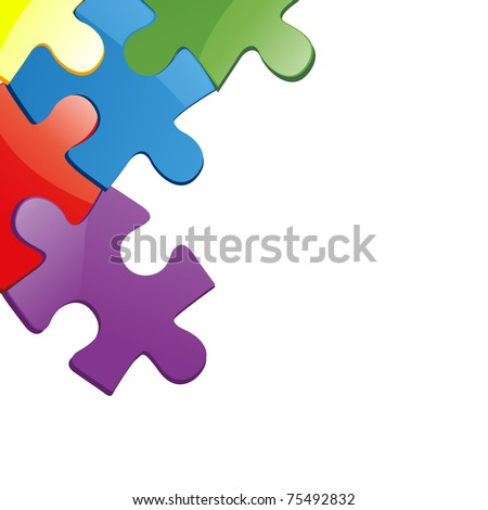 Vector illustration of puzzle pieces - stock vector