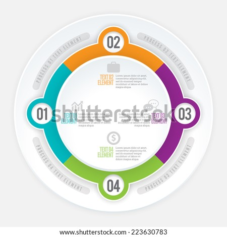 Vector illustration of quad part circle infographic design element. - stock vector