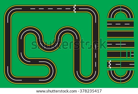 Vector Illustration of Racetrack Template - stock vector