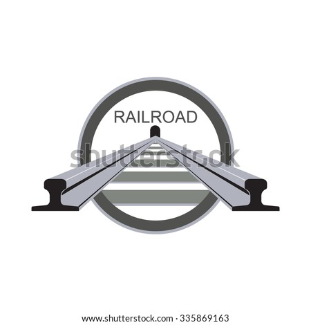 vector illustration of railway in the circle - stock vector