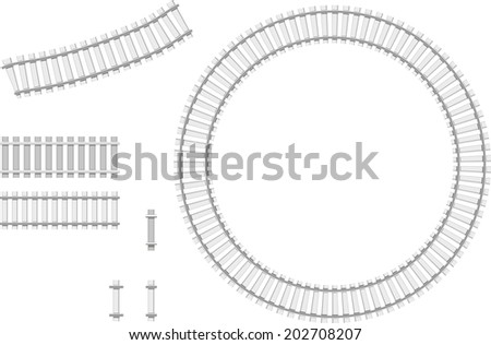 Vector illustration of railway parts - Grey rails - stock vector