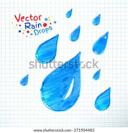 Vector illustration of rain drops. Felt pen child drawing on notebook checkered paper. - stock vector