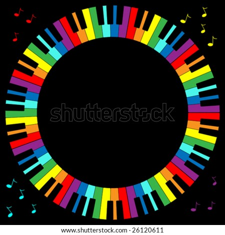 Vector illustration of rainbow color piano keyboard in circular frame. - stock vector
