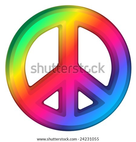 Vector illustration of rainbow dimensional peace sign. - stock vector
