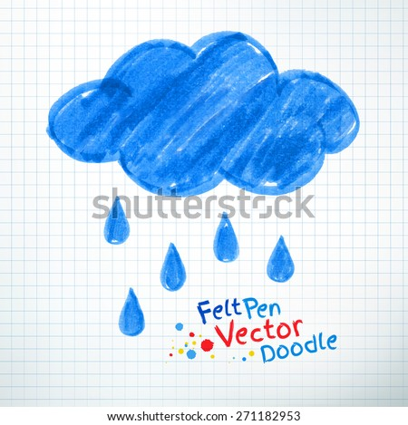 Vector illustration of rainy cloud. Felt pen childlike drawing on checkered notebook paper. - stock vector